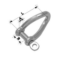 6mm Twisted Forged Shackle - Stainless Steel