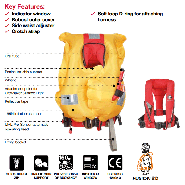 crewsaver junior crewfit 150n lifejacket automatic with