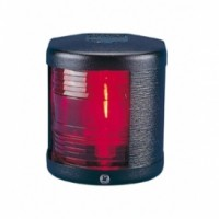Port Navigation Light - 12V - Side Mounting - Black Housing - Aqua Signal Series 25 Standard