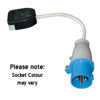 Mains 230V UK Trailing Socket 16A Plug to 13A Socket