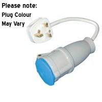 Mains 230V UK Hook Up Adaptor 16A Socket to 13A Plug