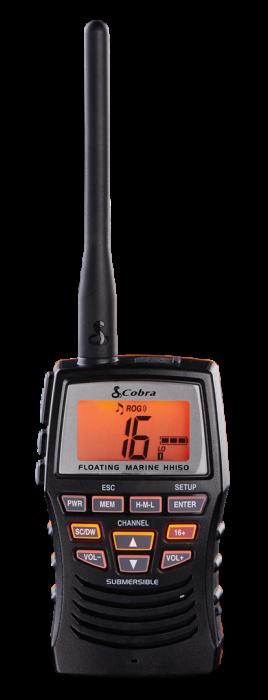 Cobra HH150 Floating And Waterproof Handheld VHF Marine Radio
